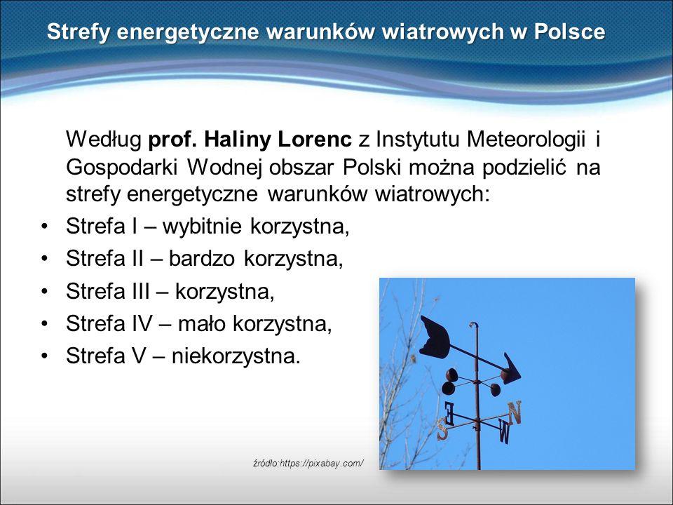 Według prof. Haliny Lorenc z Instytutu Meteorologii i Gospodarki Wodnej obszar Polski można podzielić na strefy energetyczne warunków wiatrowych: Stre