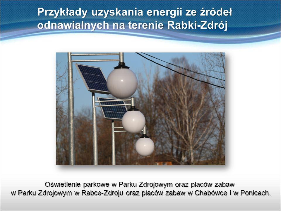 Przykłady uzyskania energii ze źródeł odnawialnych na terenie Rabki-Zdrój Oświetlenie parkowe w Parku Zdrojowym oraz placów zabaw w Parku Zdrojowym w