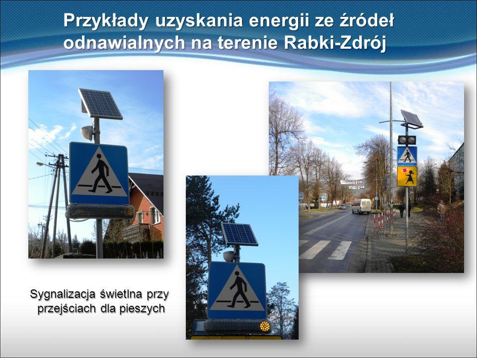 Przykłady uzyskania energii ze źródeł odnawialnych na terenie Rabki-Zdrój Sygnalizacja świetlna przy przejściach dla pieszych