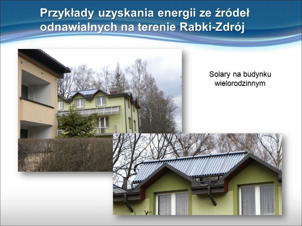 Przykłady uzyskania energii ze źródeł odnawialnych na terenie Rabki-Zdrój Solary na budynku wielorodzinnym