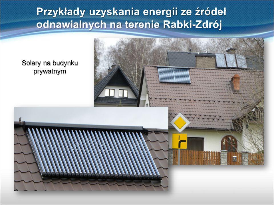 Przykłady uzyskania energii ze źródeł odnawialnych na terenie Rabki-Zdrój Solary na budynku prywatnym