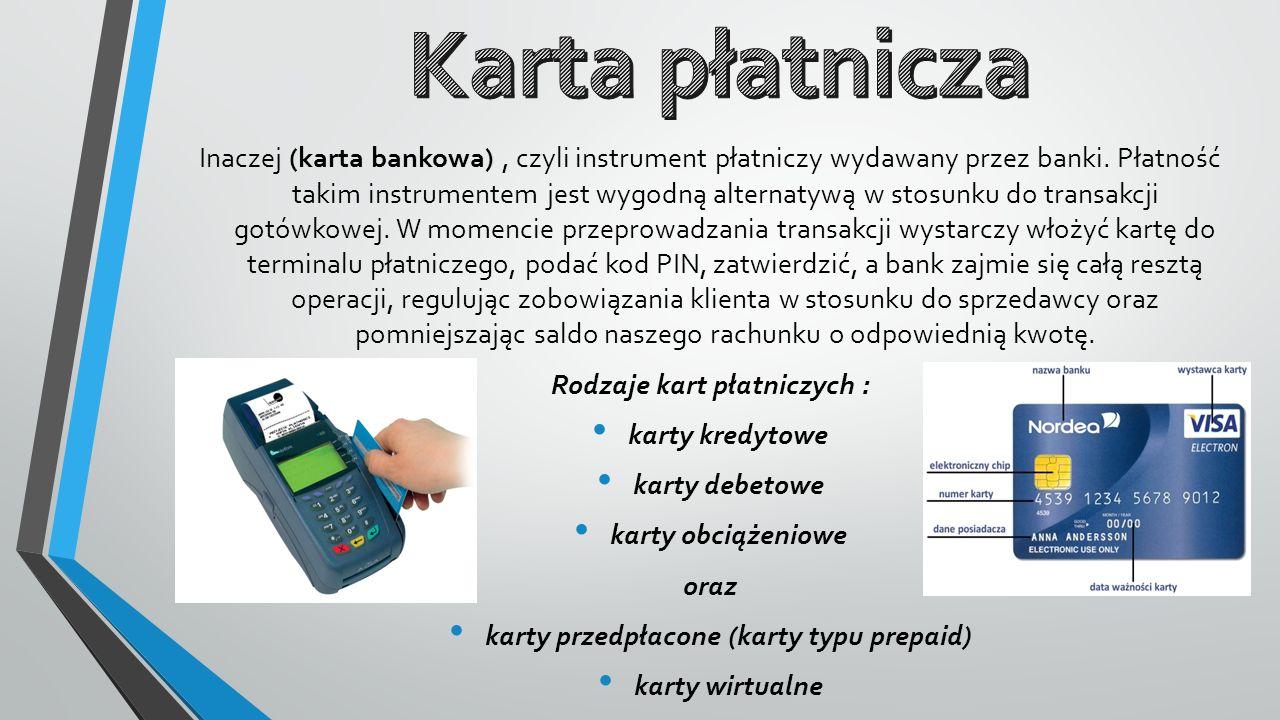Inaczej (karta bankowa), czyli instrument płatniczy wydawany przez banki. Płatność takim instrumentem jest wygodną alternatywą w stosunku do transakcj