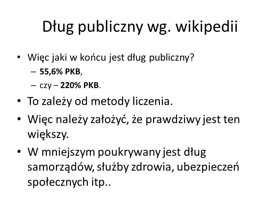 Dług publiczny wg. wikipedii Więc jaki w końcu jest dług publiczny? – 55,6% PKB, – czy – 220% PKB. To zależy od metody liczenia. Więc należy założyć,