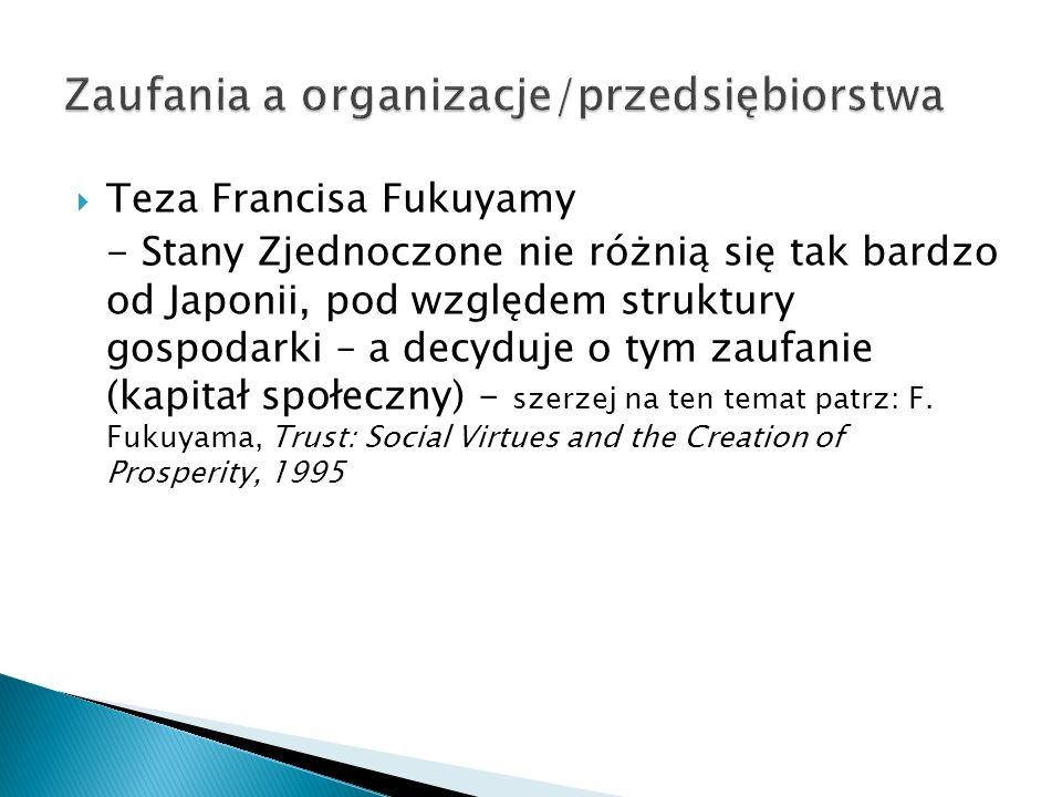  Teza Francisa Fukuyamy - Stany Zjednoczone nie różnią się tak bardzo od Japonii, pod względem struktury gospodarki – a decyduje o tym zaufanie (kapitał społeczny) – szerzej na ten temat patrz: F.