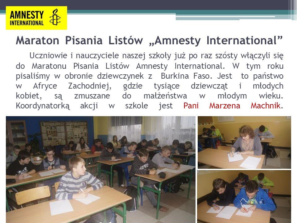 """Maraton Pisania Listów """"Amnesty International"""" Uczniowie i nauczyciele naszej szkoły już po raz szósty włączyli się do Maratonu Pisania Listów Amnesty"""
