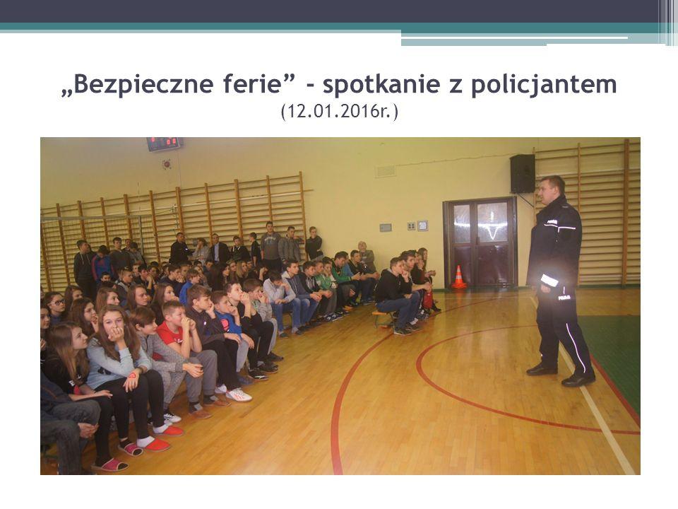 """""""Bezpieczne ferie"""" - spotkanie z policjantem (12.01.2016r.)"""
