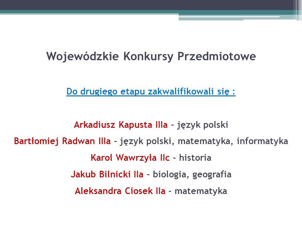 Wojewódzkie Konkursy Przedmiotowe Do drugiego etapu zakwalifikowali się : Arkadiusz Kapusta IIIa - język polski Bartłomiej Radwan IIIa - język polski,