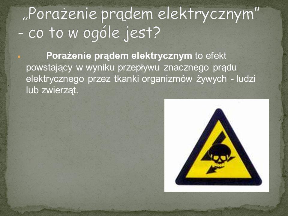 Porażenie prądem elektrycznym to efekt powstający w wyniku przepływu znacznego prądu elektrycznego przez tkanki organizmów żywych - ludzi lub zwierząt.