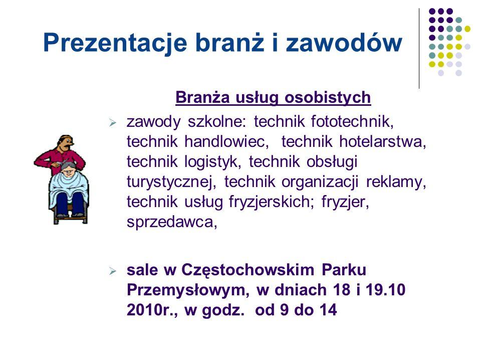 Branża ekonomiczna  zawody szkolne: technik ekonomista,  Zespół Szkół Ekonomicznych, w dniu 19.10.10r., w godz.