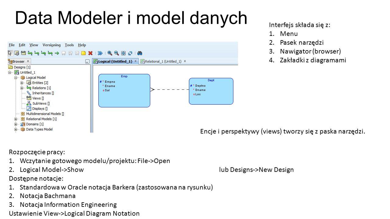 Data Modeler i model danych Rozpoczęcie pracy: 1.Wczytanie gotowego modelu/projektu: File->Open 2.Logical Model->Show lub Designs->New Design Dostępne notacje: 1.Standardowa w Oracle notacja Barkera (zastosowana na rysunku) 2.Notacja Bachmana 3.Notacja Information Engineering Ustawienie View->Logical Diagram Notation Encje i perspektywy (views) tworzy się z paska narzędzi.