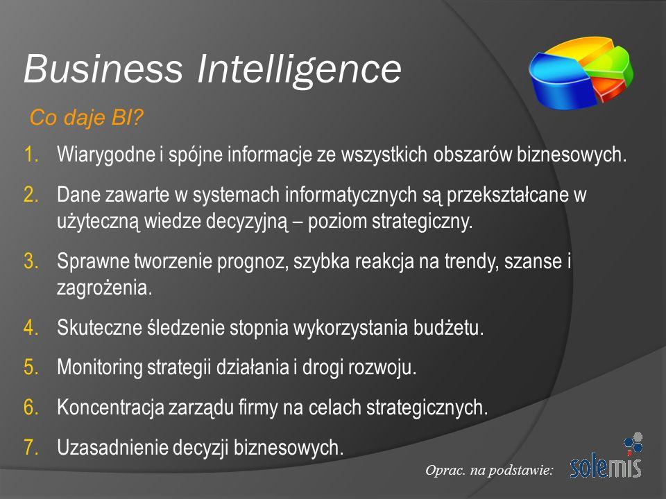 Business Intelligence 1.Wiarygodne i spójne informacje ze wszystkich obszarów biznesowych. 2.Dane zawarte w systemach informatycznych są przekształcan