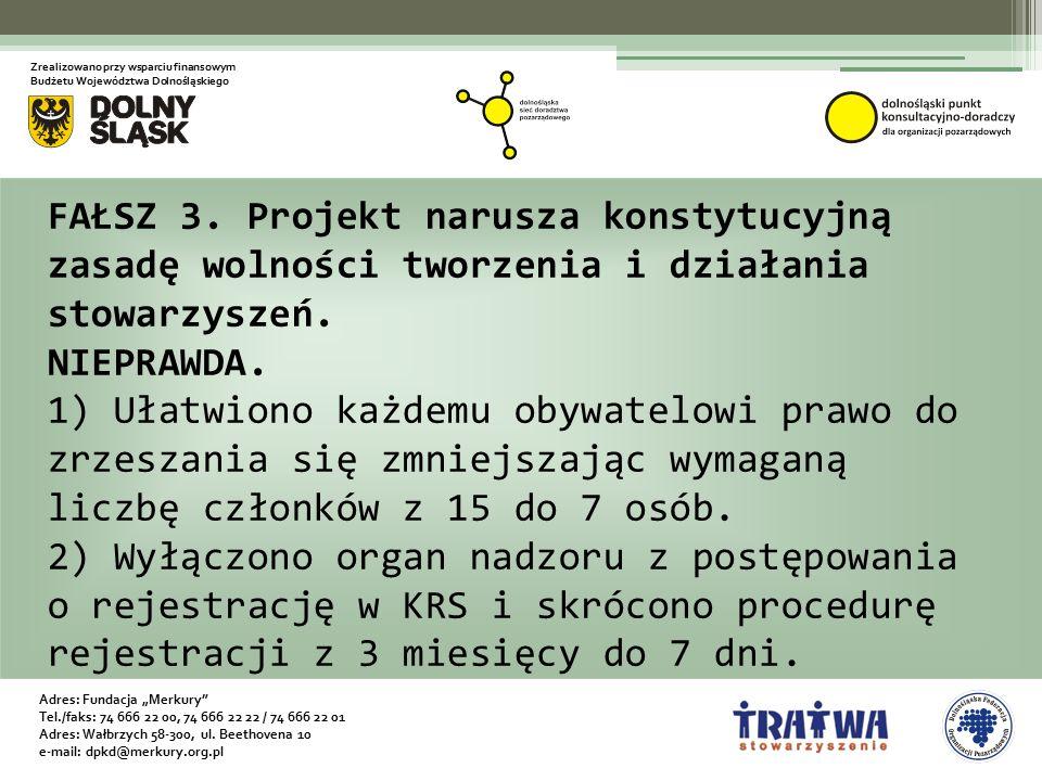 """Adres: Fundacja """"Merkury Tel./faks: 74 666 22 00, 74 666 22 22 / 74 666 22 01 Adres: Wałbrzych 58-300, ul."""
