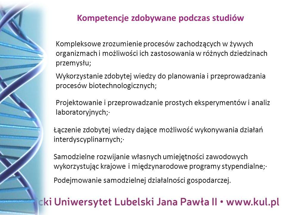 Kompetencje zdobywane podczas studiów Podejmowanie samodzielnej działalności gospodarczej.