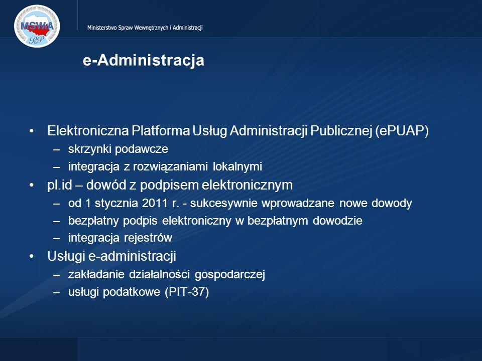 e-Administracja Elektroniczna Platforma Usług Administracji Publicznej (ePUAP) –skrzynki podawcze –integracja z rozwiązaniami lokalnymi pl.id – dowód z podpisem elektronicznym –od 1 stycznia 2011 r.