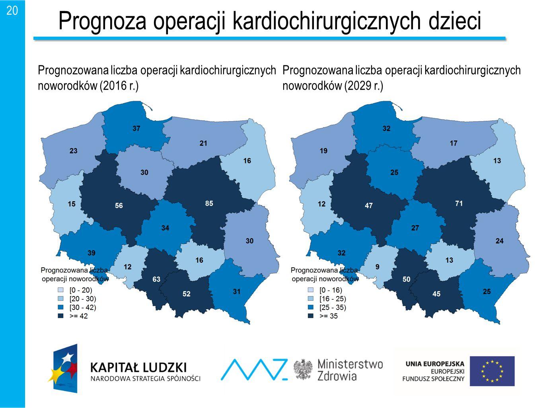 20 Prognoza operacji kardiochirurgicznych dzieci Prognozowana liczba operacji kardiochirurgicznych noworodków (2016 r.) Prognozowana liczba operacji k