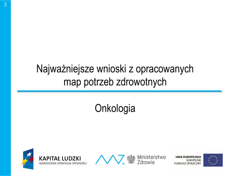 Najważniejsze wnioski z opracowanych map potrzeb zdrowotnych Onkologia 3