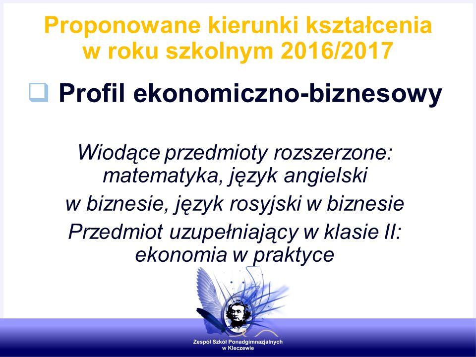 Proponowane kierunki kształcenia w roku szkolnym 2016/2017  Profil ekonomiczno-biznesowy Wiodące przedmioty rozszerzone: matematyka, język angielski