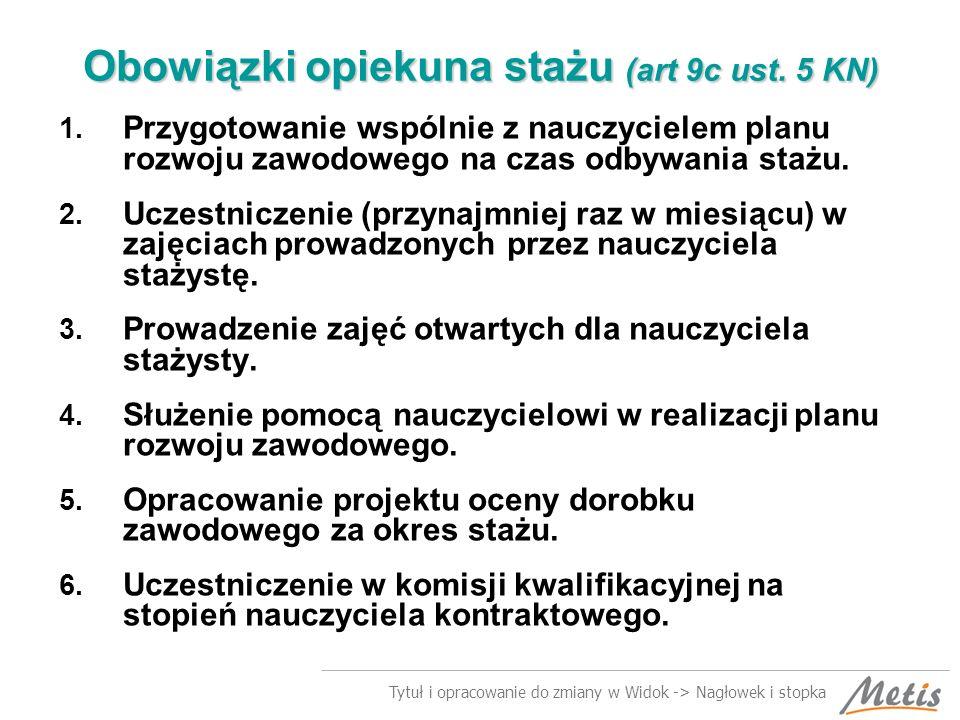 Tytuł i opracowanie do zmiany w Widok -> Nagłowek i stopka Obowiązki opiekuna stażu (art 9c ust.