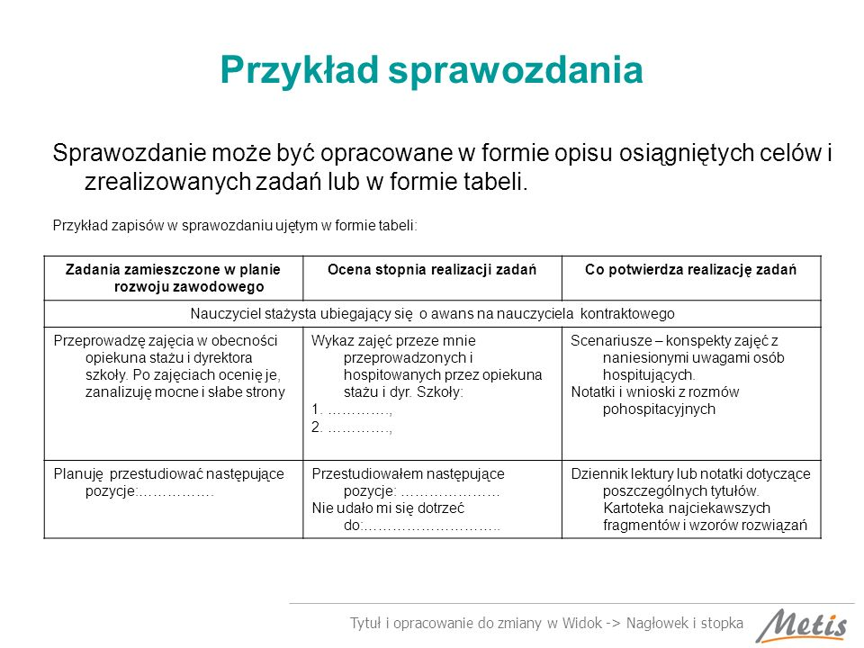Tytuł i opracowanie do zmiany w Widok -> Nagłowek i stopka Przykład sprawozdania Sprawozdanie może być opracowane w formie opisu osiągniętych celów i zrealizowanych zadań lub w formie tabeli.