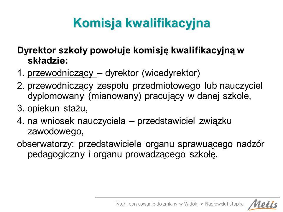 Tytuł i opracowanie do zmiany w Widok -> Nagłowek i stopka Komisja kwalifikacyjna Dyrektor szkoły powołuje komisję kwalifikacyjną w składzie: 1.