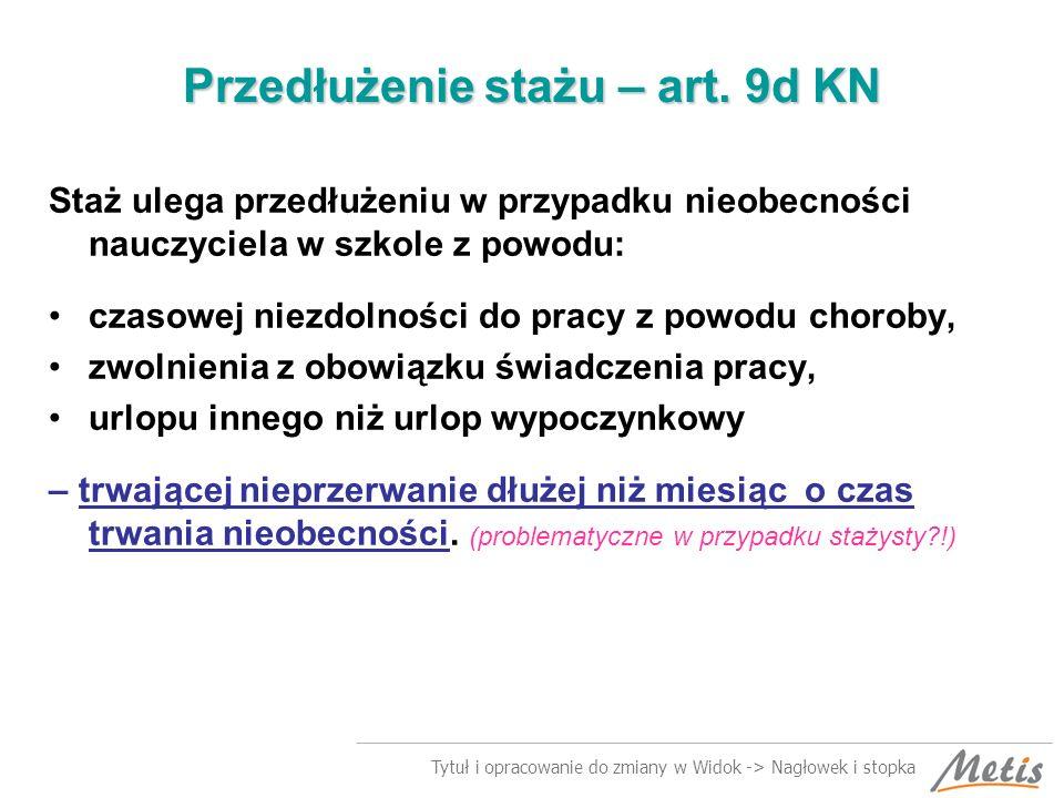 Tytuł i opracowanie do zmiany w Widok -> Nagłowek i stopka Przedłużenie stażu – art.