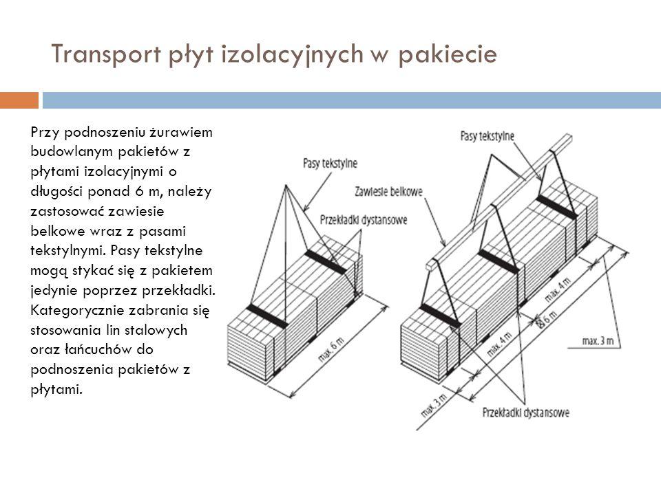 Transport płyt izolacyjnych w pakiecie Przy podnoszeniu żurawiem budowlanym pakietów z płytami izolacyjnymi o długości ponad 6 m, należy zastosować zawiesie belkowe wraz z pasami tekstylnymi.