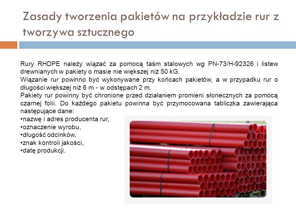 Zasady tworzenia pakietów na przykładzie rur z tworzywa sztucznego Rury RHDPE należy wiązać za pomocą taśm stalowych wg PN-73/H-92326 i listew drewnianych w pakiety o masie nie większej niż 50 kG.