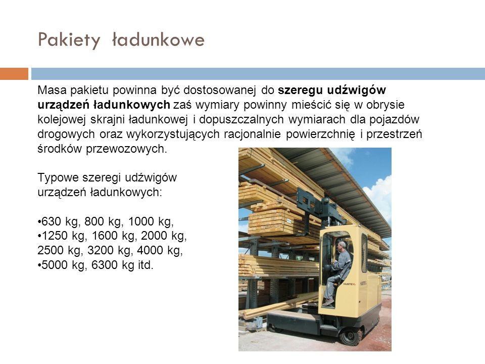 Pakiety ładunkowe Masa pakietu powinna być dostosowanej do szeregu udźwigów urządzeń ładunkowych zaś wymiary powinny mieścić się w obrysie kolejowej skrajni ładunkowej i dopuszczalnych wymiarach dla pojazdów drogowych oraz wykorzystujących racjonalnie powierzchnię i przestrzeń środków przewozowych.