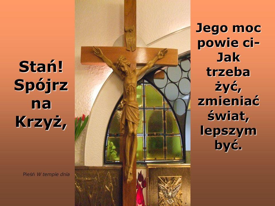 Stań.Spójrz na Krzyż, Jego moc powie ci- Jak trzeba żyć, zmieniać świat, lepszym być.