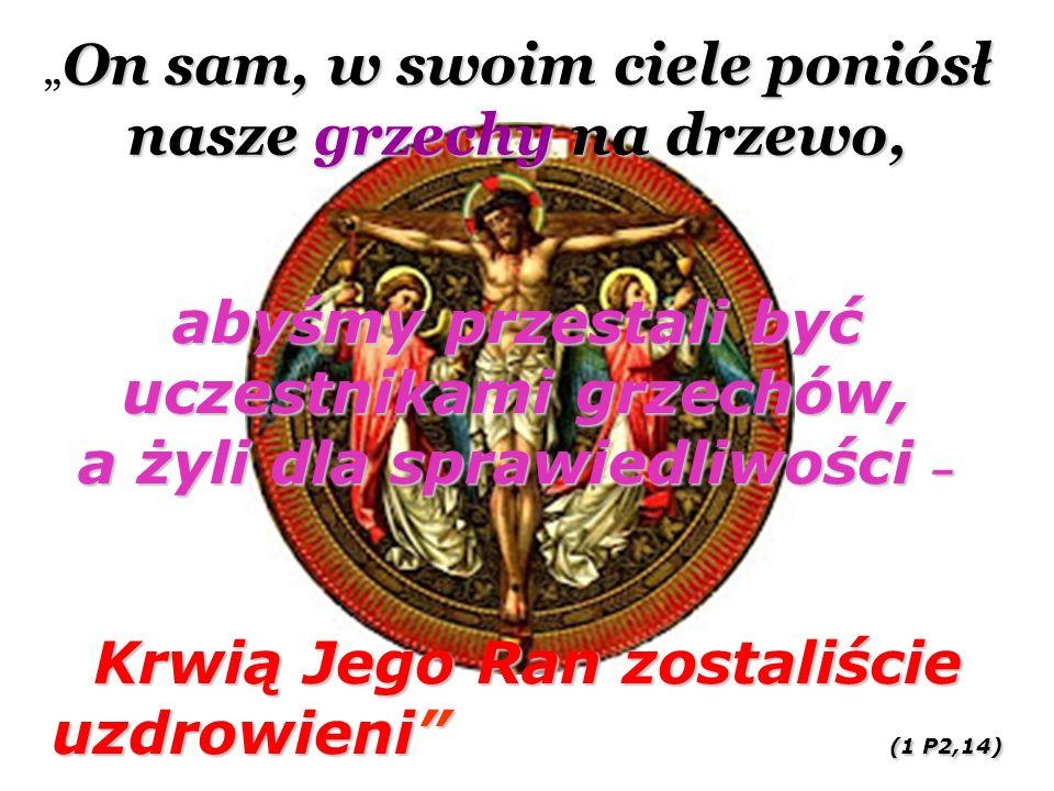"""On sam, w swoim ciele poniósł nasze grzechy na drzewo, """" On sam, w swoim ciele poniósł nasze grzechy na drzewo, abyśmy przestali być uczestnikami grzechów, a żyli dla sprawiedliwości – Krwią Jego Ran zostaliście uzdrowieni (1 P2,14)"""