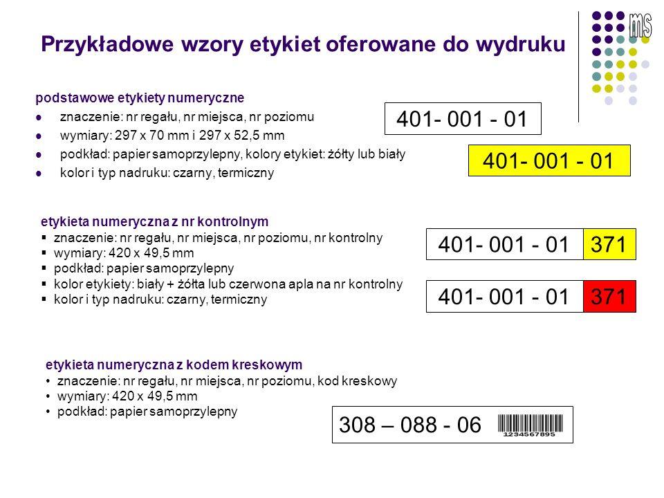 Przykłady oznaczenia gniazd regałowych