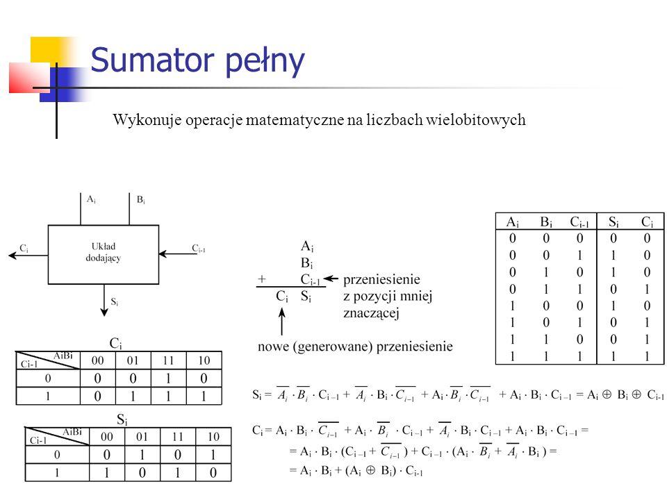 Sumator pełny Wykonuje operacje matematyczne na liczbach wielobitowych