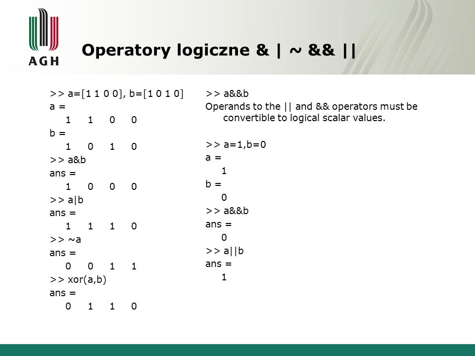 Operatory logiczne & | ~ && || >> a=[1 1 0 0], b=[1 0 1 0] a = 1 1 0 0 b = 1 0 1 0 >> a&b ans = 1 0 0 0 >> a|b ans = 1 1 1 0 >> ~a ans = 0 0 1 1 >> xor(a,b) ans = 0 1 1 0 >> a&&b Operands to the || and && operators must be convertible to logical scalar values.