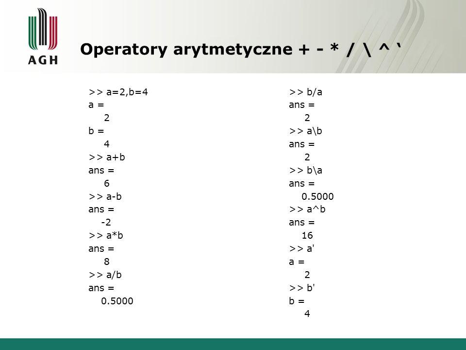 Operatory arytmetyczne + - * / \ ^ ' >> a=5,b=[1 2 3] a = 5 b = 1 2 3 >> a+b ans = 6 7 8 >> a-b ans = 4 3 2 >> a*b ans = 5 10 15 >> b/a ans = 0.2000 0.4000 0.6000 >> a\b ans = 0.2000 0.4000 0.6000 >> a/b Error using / Matrix dimensions must agree.