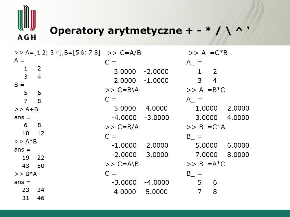 Operatory arytmetyczne + - * / \ ^ ' >> A=[1 2; 3 4],B=[5 6; 7 8] A = 1 2 3 4 B = 5 6 7 8 >> A+B ans = 6 8 10 12 >> A*B ans = 19 22 43 50 >> B*A ans = 23 34 31 46 >> C=A/B C = 3.0000 -2.0000 2.0000 -1.0000 >> C=B\A C = 5.0000 4.0000 -4.0000 -3.0000 >> C=B/A C = -1.0000 2.0000 -2.0000 3.0000 >> C=A\B C = -3.0000 -4.0000 4.0000 5.0000 >> A_=C*B A_ = 1 2 3 4 >> A_=B*C A_ = 1.0000 2.0000 3.0000 4.0000 >> B_=C*A B_ = 5.0000 6.0000 7.0000 8.0000 >> B_=A*C B_ = 5 6 7 8