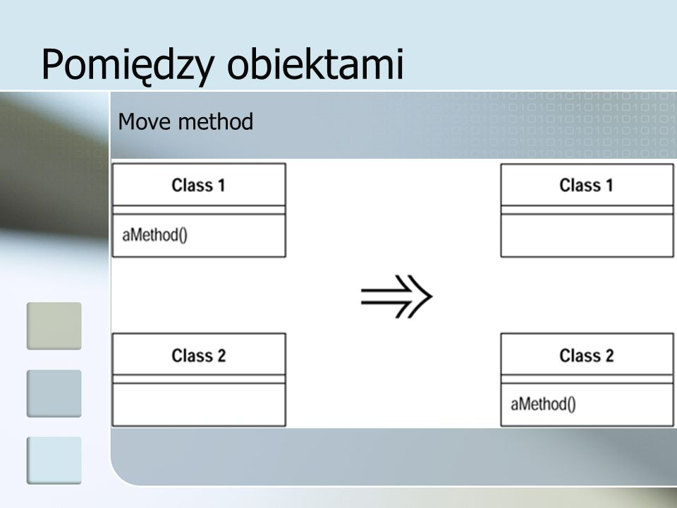 Pomiędzy obiektami Move method