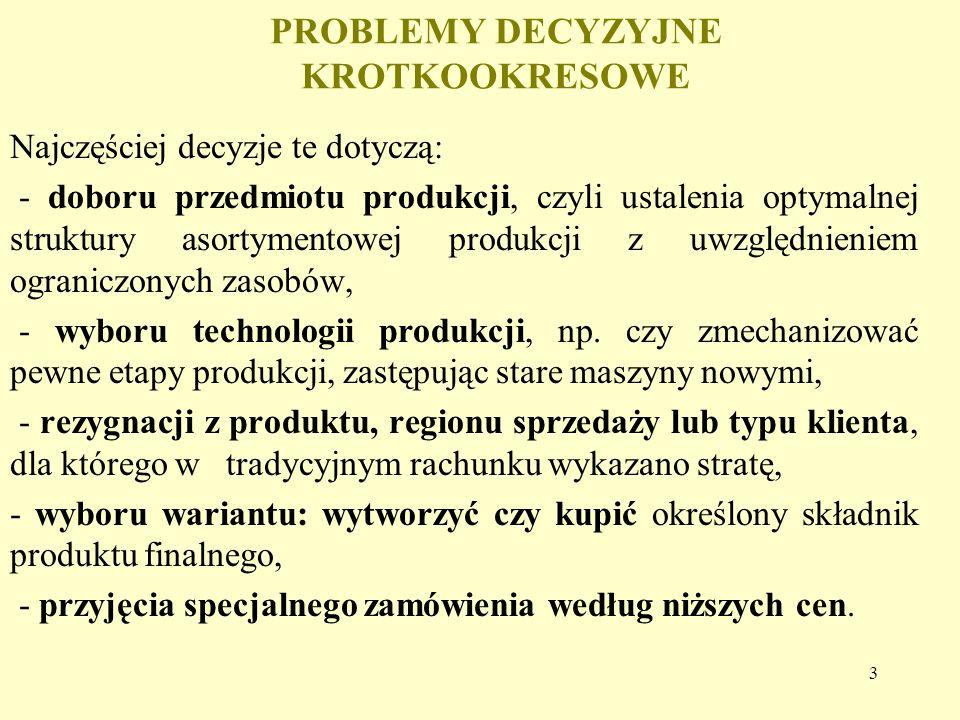 3 PROBLEMY DECYZYJNE KROTKOOKRESOWE Najczęściej decyzje te dotyczą: - doboru przedmiotu produkcji, czyli ustalenia optymalnej struktury asortymentowej produkcji z uwzględnieniem ograniczonych zasobów, - wyboru technologii produkcji, np.