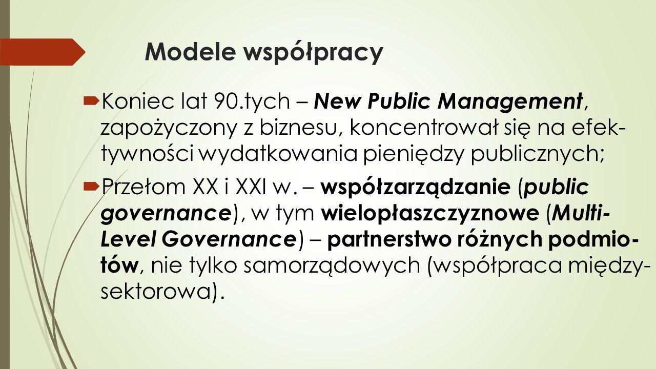 Modele współpracy  Koniec lat 90.tych – New Public Management, zapożyczony z biznesu, koncentrował się na efek- tywności wydatkowania pieniędzy publicznych;  Przełom XX i XXI w.