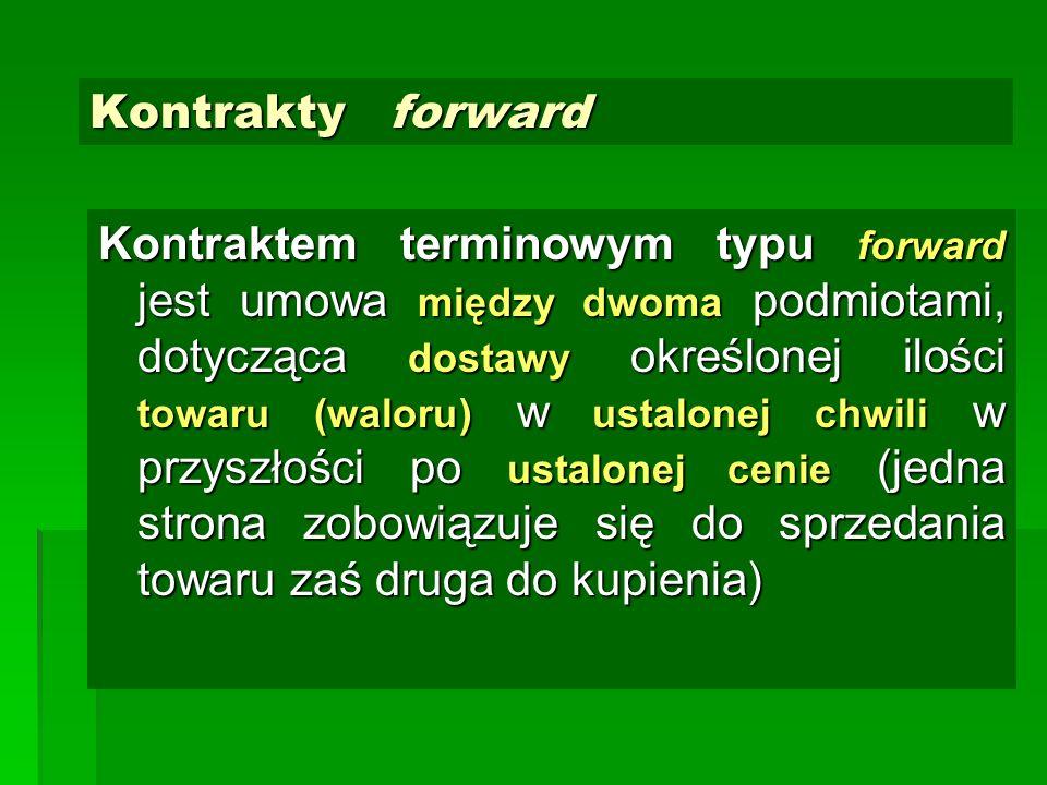 Kontrakty forward Kontraktem terminowym typu forward jest umowa między dwoma podmiotami, dotycząca dostawy określonej ilości towaru (waloru) w ustalon