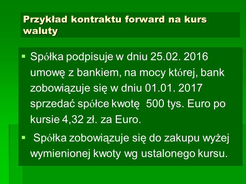 Przykład kontraktu forward na kurs waluty   Sp ó łka podpisuje w dniu 25.02. 2016 umowę z bankiem, na mocy kt ó rej, bank zobowiązuje się w dniu 01.