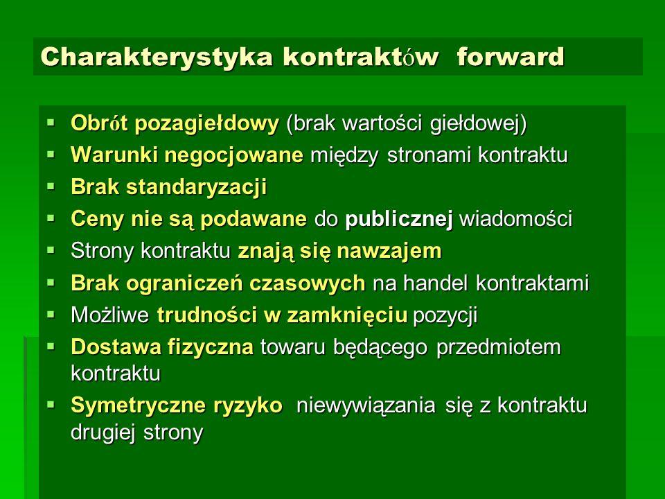 Charakterystyka kontrakt ó w forward  Obr ó t pozagiełdowy (brak wartości giełdowej)  Warunki negocjowane między stronami kontraktu  Brak standaryz