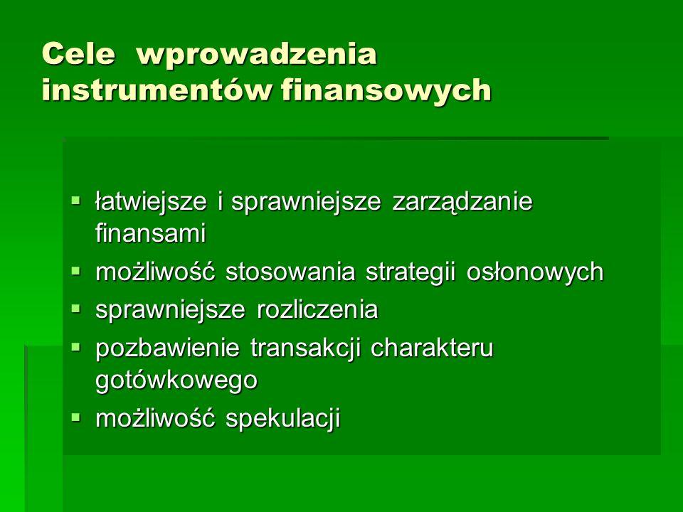 Cele wprowadzenia instrumentów finansowych  łatwiejsze i sprawniejsze zarządzanie finansami  możliwość stosowania strategii osłonowych  sprawniejsze rozliczenia  pozbawienie transakcji charakteru gotówkowego  możliwość spekulacji