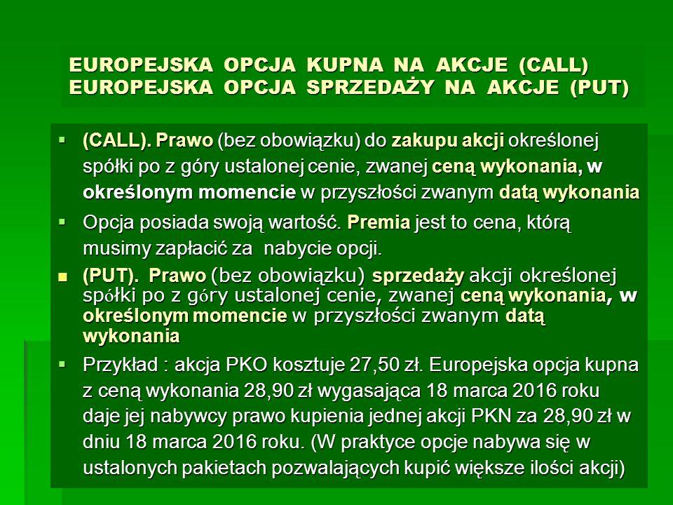 EUROPEJSKA OPCJA KUPNA NA AKCJE (CALL) EUROPEJSKA OPCJA SPRZEDAŻY NA AKCJE (PUT)  (CALL). Prawo (bez obowiązku) do zakupu akcji określonej spółki po