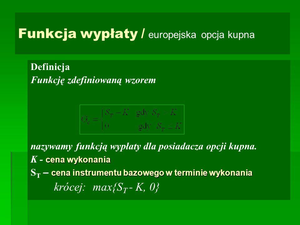 Funkcja wypłaty / europejska opcja kupna Definicja Funkcję zdefiniowaną wzorem nazywamy funkcją wypłaty dla posiadacza opcji kupna. cena wykonania K -