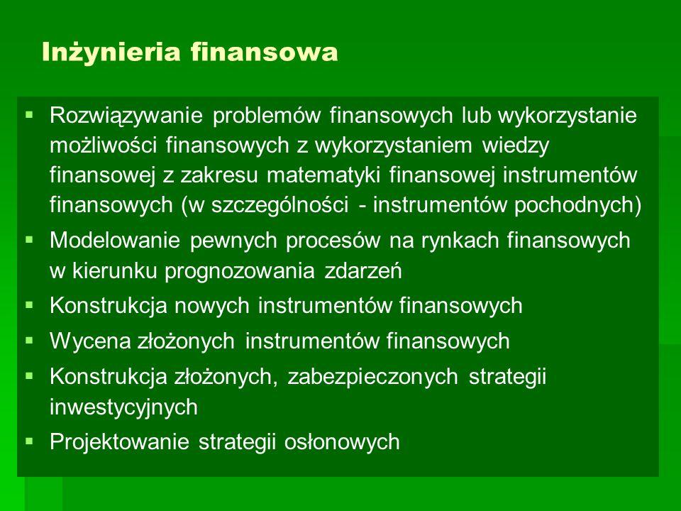 Inżynieria finansowa   Rozwiązywanie problemów finansowych lub wykorzystanie możliwości finansowych z wykorzystaniem wiedzy finansowej z zakresu matematyki finansowej instrumentów finansowych (w szczególności - instrumentów pochodnych)   Modelowanie pewnych procesów na rynkach finansowych w kierunku prognozowania zdarzeń   Konstrukcja nowych instrumentów finansowych   Wycena złożonych instrumentów finansowych   Konstrukcja złożonych, zabezpieczonych strategii inwestycyjnych   Projektowanie strategii osłonowych