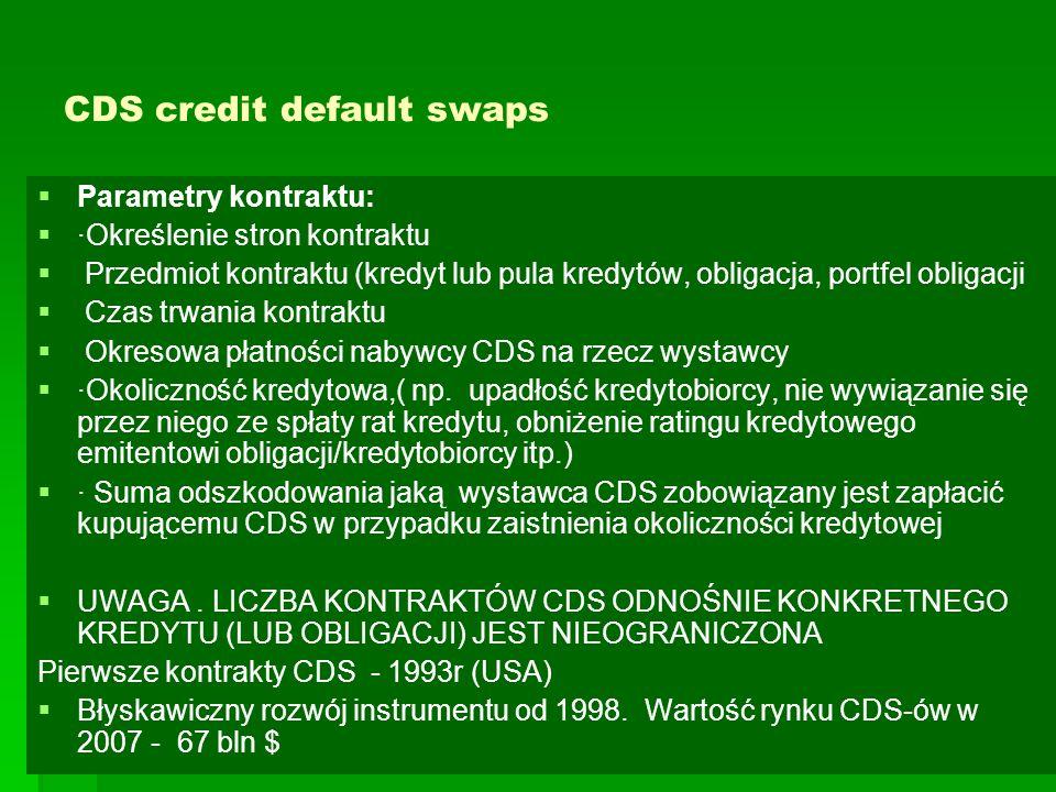 CDS credit default swaps   Parametry kontraktu:   ·Określenie stron kontraktu   Przedmiot kontraktu (kredyt lub pula kredytów, obligacja, portfel obligacji   Czas trwania kontraktu   Okresowa płatności nabywcy CDS na rzecz wystawcy   ·Okoliczność kredytowa,( np.