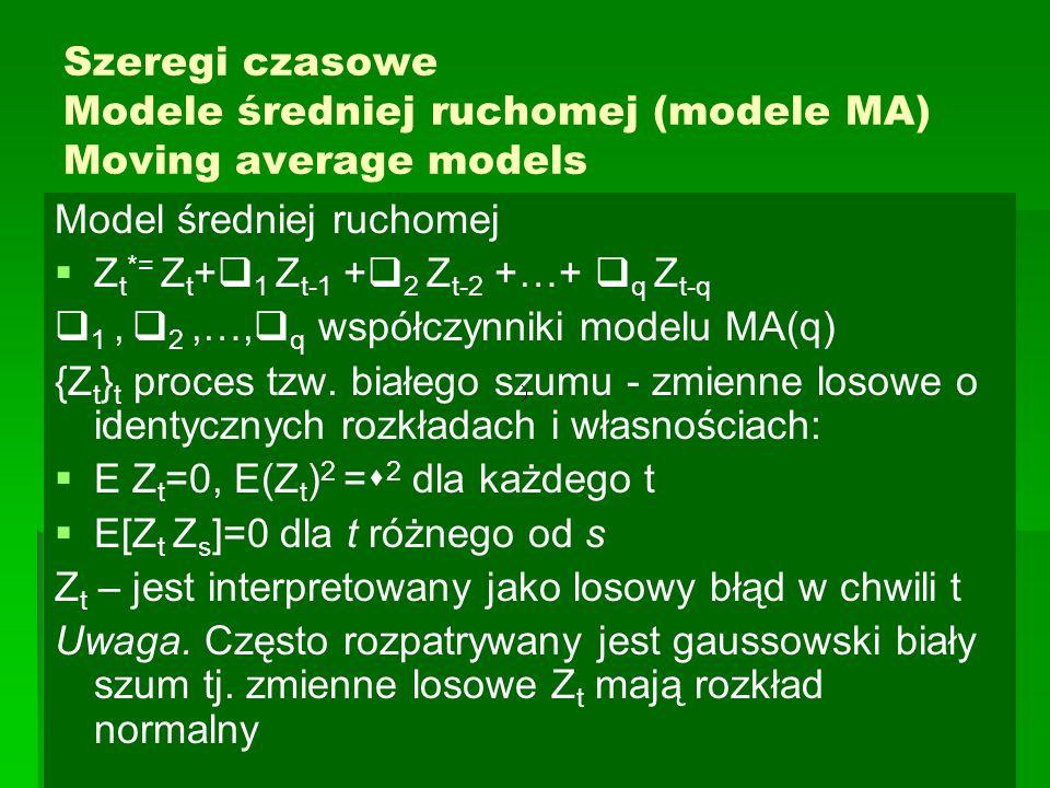 Szeregi czasowe Modele średniej ruchomej (modele MA) Moving average models Model średniej ruchomej   Z t *= Z t +  1 Z t-1 +  2 Z t-2 +…+  q Z t-q  1,  2,…,  q współczynniki modelu MA(q) {Z t } t proces tzw.