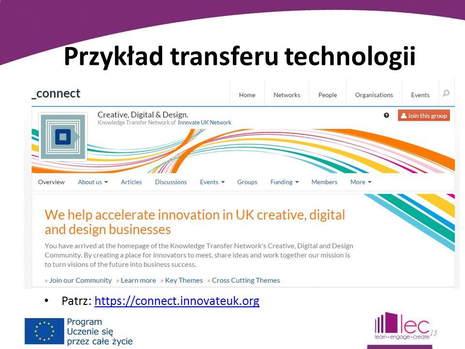 Przykład transferu technologii Patrz: https://connect.innovateuk.orghttps://connect.innovateuk.org 15