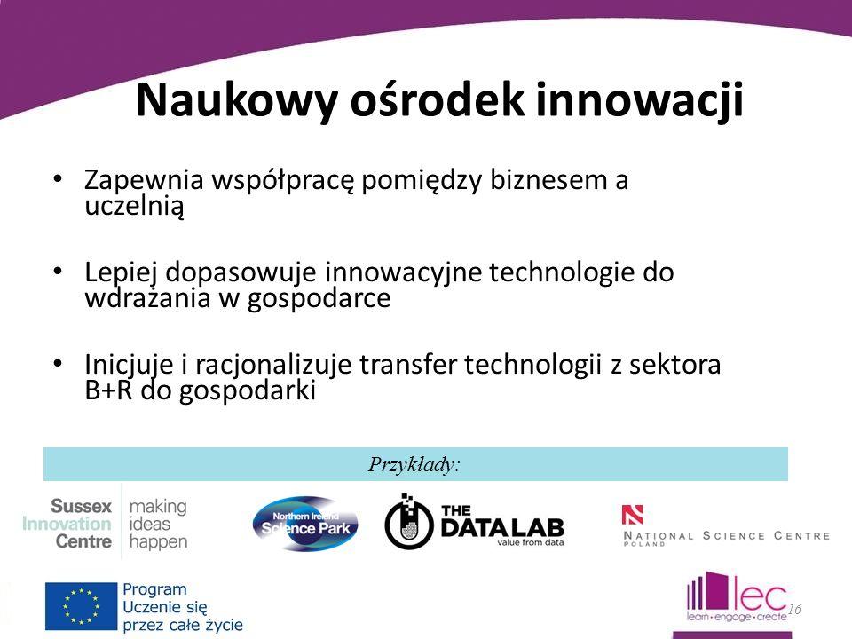 Naukowy ośrodek innowacji Zapewnia współpracę pomiędzy biznesem a uczelnią Lepiej dopasowuje innowacyjne technologie do wdrażania w gospodarce Inicjuje i racjonalizuje transfer technologii z sektora B+R do gospodarki 16 Przykłady: