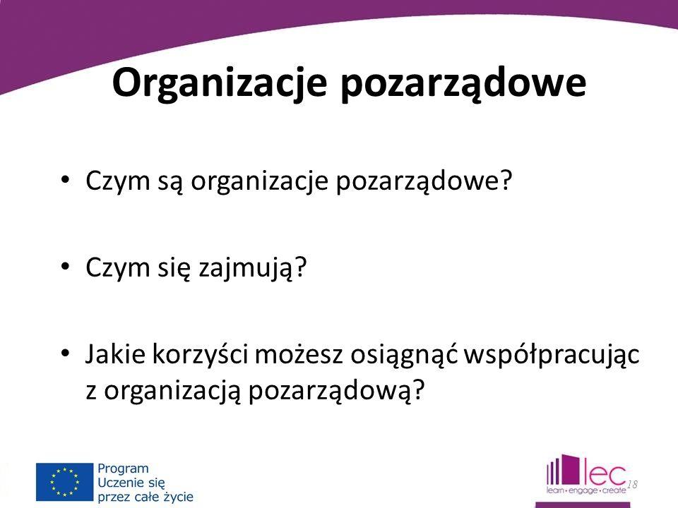 Organizacje pozarządowe Czym są organizacje pozarządowe.